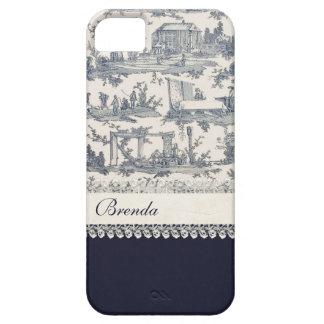Personalizado azul y poner crema elegante de Toile iPhone 5 Cobertura
