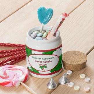 Personalizado: Bastón y acebo de caramelo: Tarro Plato Para Caramelo