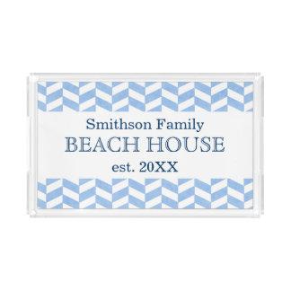 Personalizado blanco azul de la casa de playa de bandeja rectangular