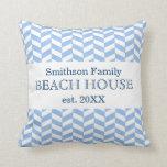 Personalizado blanco azul de la casa de playa de cojin