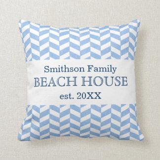 Personalizado blanco azul de la casa de playa de cojín
