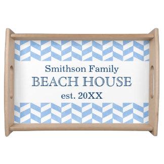Personalizado blanco azul de la casa de playa de bandeja