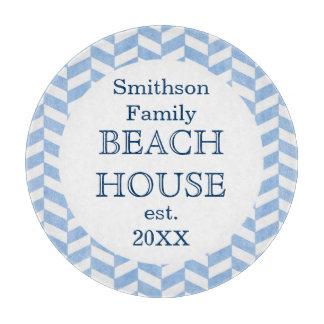 Personalizado blanco azul de la casa de playa de tabla para cortar