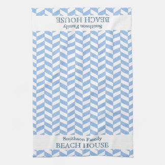 Personalizado blanco azul de la casa de playa de toallas