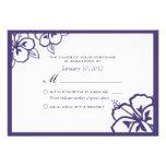 Personalizado blanco y púrpura RSVP de la flor del Anuncios