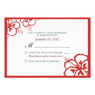 Personalizado blanco y rojo RSVP de la flor del hi Invitacion Personal