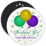 Personalizado: Botón del chica del cumpleaños Pin