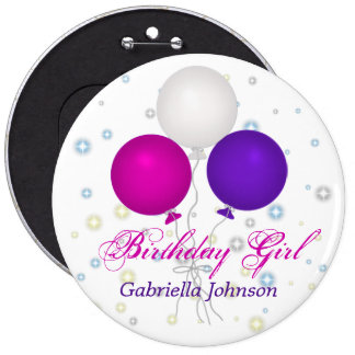 Personalizado: Botón del chica del cumpleaños Pin Redondo De 6 Pulgadas