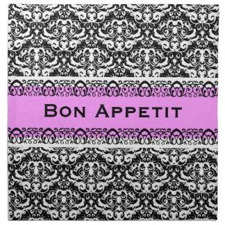 Personalizado caligráfico rosado y negro elegante  servilletas imprimidas