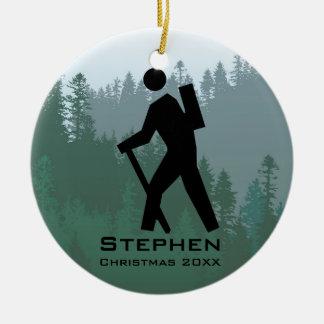 Personalizado caminando el ornamento adorno navideño redondo de cerámica