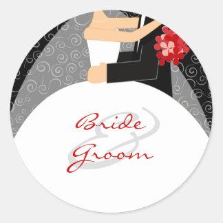 Personalizado casando a los pegatinas etiqueta redonda