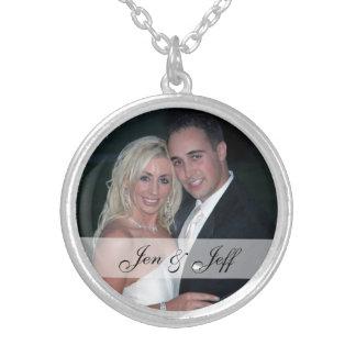Personalizado casando el collar plateado plata de