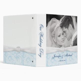 """Personalizado casando el damasco blanco y azul de  carpeta 1 1/2"""""""