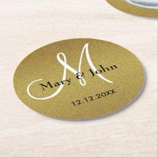 Personalizado casando el oro del brillo del posavasos de cartón redondo