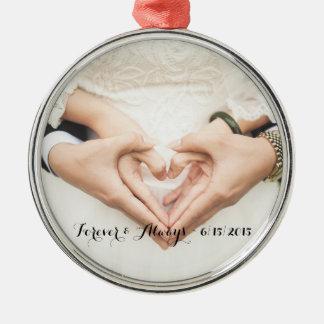 Personalizado casando la foto para siempre y adorno navideño redondo de metal