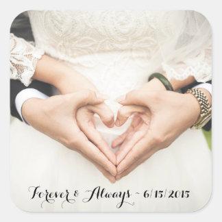 Personalizado casando la foto para siempre y pegatina cuadrada