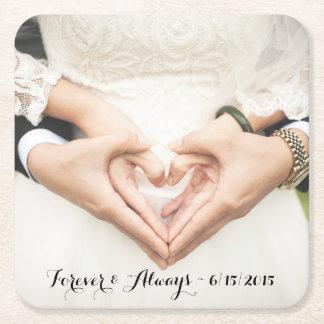 Personalizado casando la foto para siempre y posavasos personalizable cuadrado