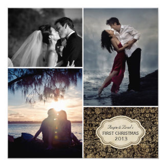 Personalizado casando la impresión del collage de cojinete