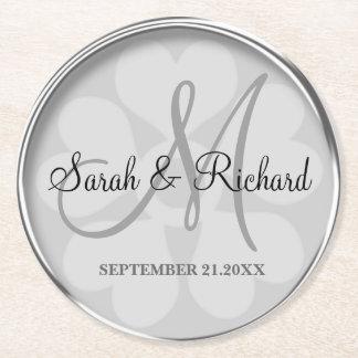 Personalizado casando la plata elegante del posavasos personalizable redondo