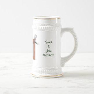 Personalizado casando la taza de Stein del favor d