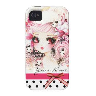 Personalizado - chica hermoso del animado con los iPhone 4 carcasas