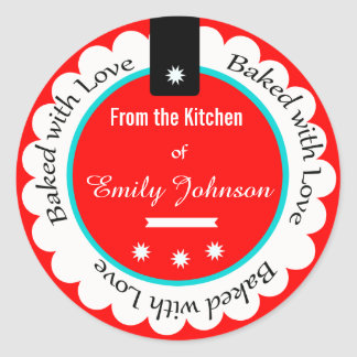 Personalizado cocido con las etiquetas de la pegatina redonda