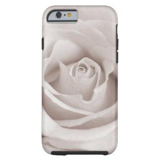 Personalizado color de rosa blanco y poner crema funda de iPhone 6 tough