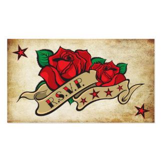 Personalizado color de rosa RSVP del tatuaje Tarjeta Personal