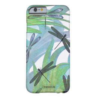 Personalizado colorido del extracto de la libélula funda para iPhone 6 barely there