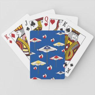 Personalizado colorido del parasol de playa y de cartas de póquer
