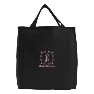 Personalizado con monograma del hilo rosado bolsas de lienzo