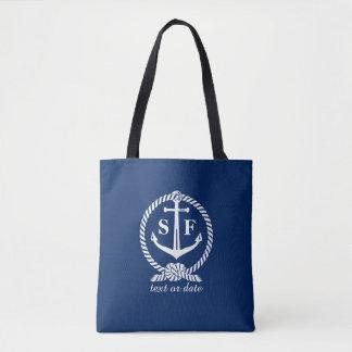 Personalizado con monograma náutico del ancla azul bolsa de tela