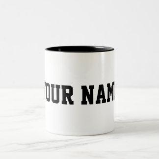 Personalizado con su nombre taza de café de dos colores