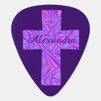 Personalizado cristiano cruzado púrpura del músico plectro