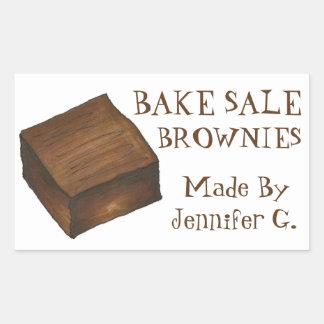 Personalizado cueza los brownie de la venta pegatina rectangular