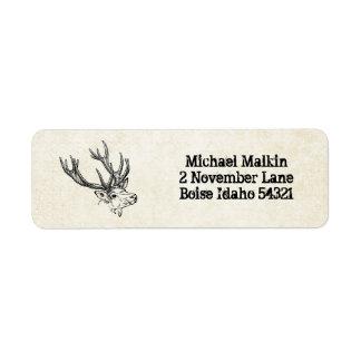 Personalizado de la caza de los ciervos etiqueta de remite