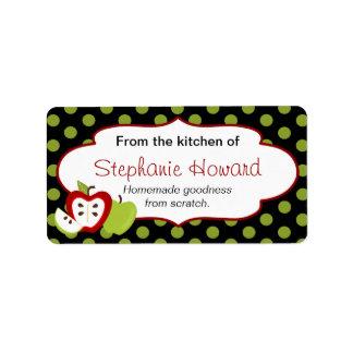 Personalizado de la cocina con las manzanas etiqueta de dirección