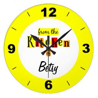 Personalizado de la cocina del reloj amarillo