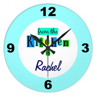 Personalizado de la cocina del reloj azul de los c