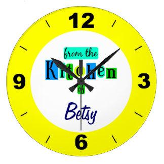 Personalizado de la cocina del reloj del amarillo