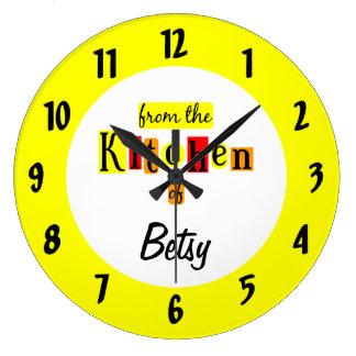 Personalizado de la cocina del reloj negro de los