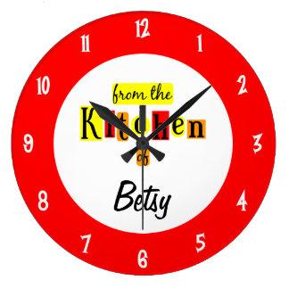 Personalizado de la cocina del reloj rojo retro
