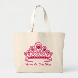 Personalizado de la corona de la belleza bolsa tela grande