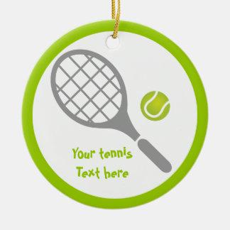 Personalizado de la estafa y de la bola de tenis adorno navideño redondo de cerámica