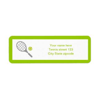 Personalizado de la estafa y de la bola de tenis etiqueta de remitente