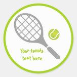 Personalizado de la estafa y de la bola de tenis etiqueta redonda