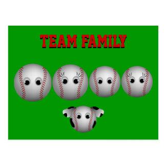 Personalizado de la familia del béisbol tarjetas postales