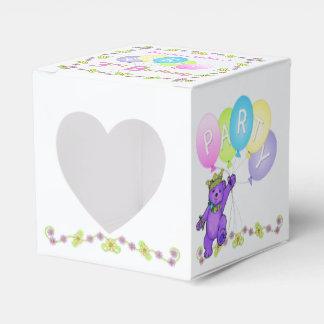 Personalizado de la fiesta de cumpleaños del oso caja para regalos