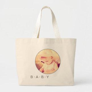 Personalizado de la imagen del bebé redondo bolsa tela grande