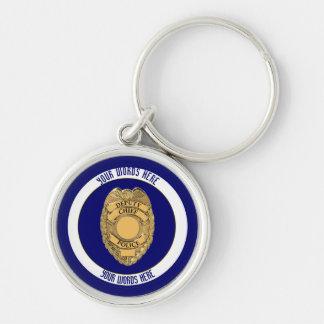 Personalizado de la insignia del jefe del diputado llavero redondo plateado